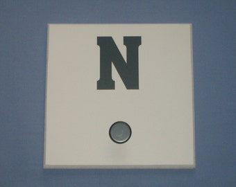 SALE: Letter N monogram initial, grey, wall hook with bronze knob