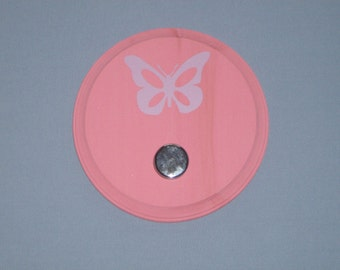 SALE: Purple butterfly on a pink wall plaque with silver knob, wall hook