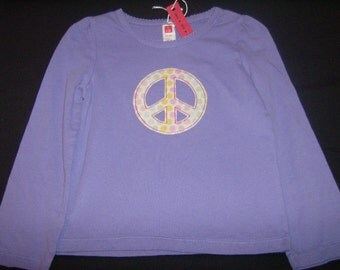 Purple with polka dot peace sign, long-sleeved toddler shirt, 2T - 3T