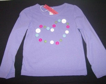 Purple shirt with buttons in a heart shape, long-sleeved toddler shirt, 2T - 3T