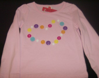 Pink shirt with buttons in a heart shape, long-sleeved toddler shirt, 2T - 3T