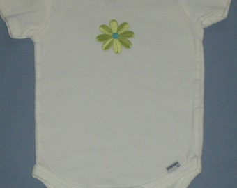 Lime green with blue flower onesie, 18 months