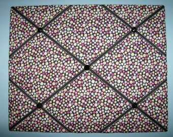 Flower french memo board, with pink, blue, green, & yellow, 16 x 20