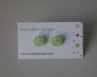 Sterling silver dangle earrings with lime green and clear vintage buttons