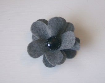 Charcoal gray large flower hair alligator clip with black rhinestone button