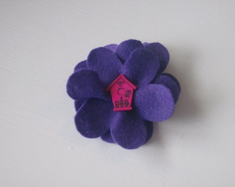 Blue large flower hair alligator clip with pink birdhouse button