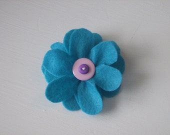 Turquoise blue large flower hair alligator clip with purple and pink or any other color layered buttons