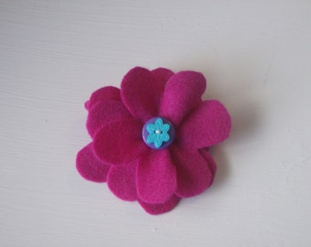 Dark pink large flower hair alligator clip with buttons