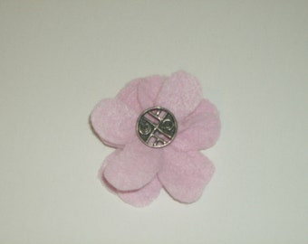 SALE: Light pink layered felt flower pin brooch with vintage silver button