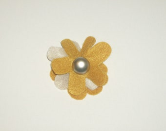 SALE: Gold & khaki layered felt flower pin brooch with vintage matte silver button