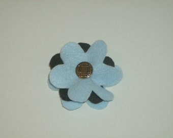 Light blue & brown layered felt flower pin brooch with vintage silver button