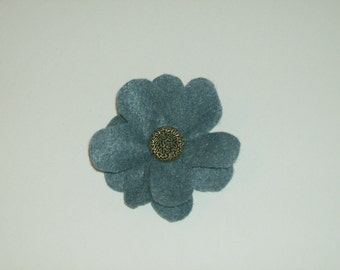 SALE: Denim blue layered felt flower pin brooch with vintage gold decorative button