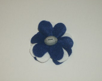 SALE: Team spirit blue & white layered felt flower pin brooch with football button