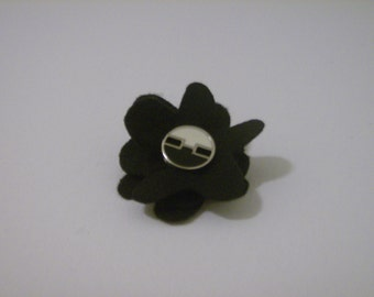 SALE: Black layered felt flower pin brooch with vintage black & antique white with silver trim button