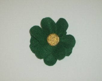 SALE: Hunter green layered felt flower pin brooch with round vintage gold button
