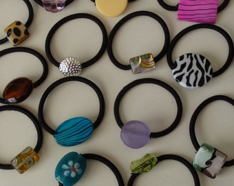 Lot of 10 ponytail holders, designers choice, Goody ouchless with beads & stones