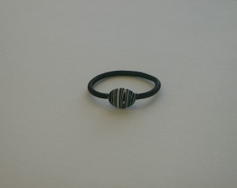 Black & white striped oval bead, ponytail holder