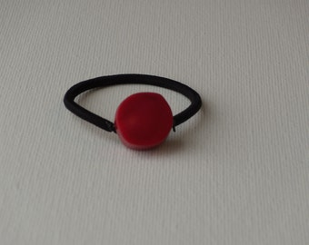 Thick round red bead, ponytail holder