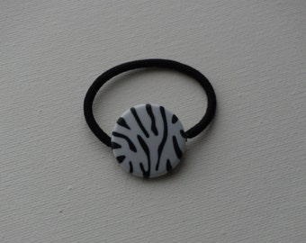 Zebra print black & white ponytail holder