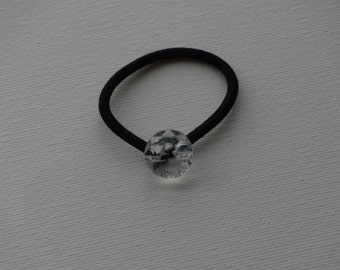 Faceted clear round crystal, ponytail holder
