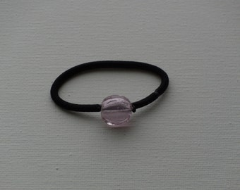 Pink round glass coin bead with silver foil, ponytail holder