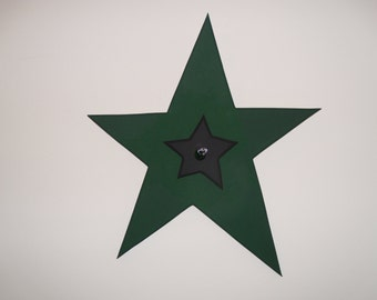 SALE: Large hunter green star with small black star, featuring a silver wire and green glass bead accent
