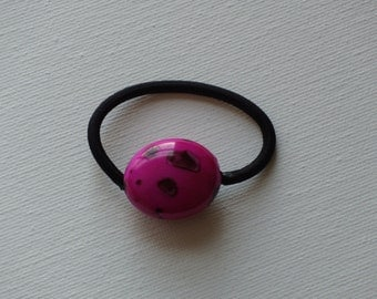 Hot pink and black puffy oval bead, ponytail holder