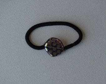 Purple with metallic silver polka dots round glass coin bead, ponytail holder