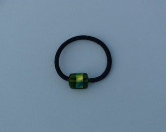 Green rectangle glass bead with metallic gold & blue foil, ponytail holder