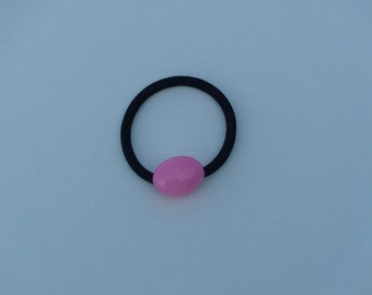 Bubble gum pink Jade oval bead, ponytail holder