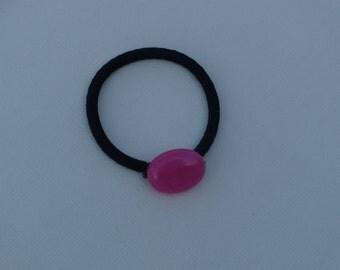 Magenta pink Jade oval bead, ponytail holder