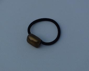 Dark metallic gold puffy rectangle bead, ponytail holder