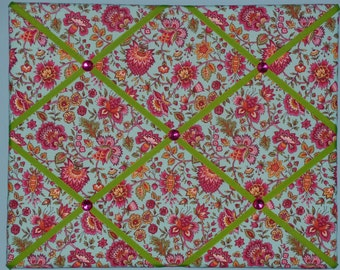 Blue with pink, yellow, orange, & green flower french memo board, 16 x 20