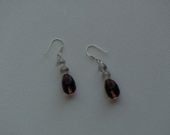 Sterling silver dangle earrings with purple & clear textured glass vintage beads