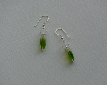 Sterling silver dangle earrings with green & clear flower glass vintage beads