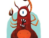 Mudbug Monster -  A giclee print of an original illustration (8 x 10)