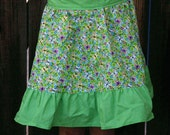 young girl's green butterfly  half apron