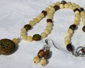 Necklace and Earring Set - Yellow, Green and Red-Brown