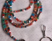 "Lanyard - Multi Colored Lustre Finish Czech Glass  E Beads with Pewter Accent Beads, 22""L"