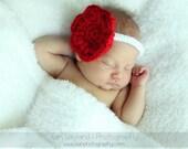 Scarlet Dreams  FLOWER HEADBAND Newborn Baby All Handmade Red White Giant Flower - Photography Prop Daily Use Headband