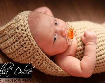 Cream Hooded Cocoon - Newborn Baby Cocoon - Photography Prop