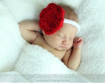 Scarlet Dreams  FLOWER HEADBAND Newborn Baby All Handmade Red White Giant Flower - Photography Prop Daily Use Headband