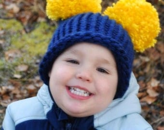 Toddler Ear Hat - Alaskan Hat - Blue and Yellow hat - Knit Hat - 12 months to 3 years - State Hat - Photography Prop