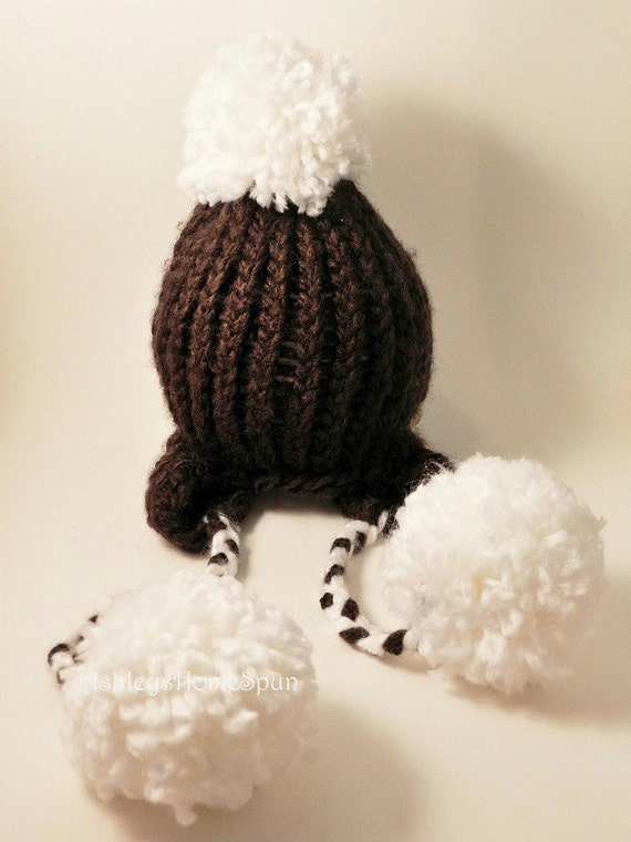 Hot Cocoa with Marshmallows - White Brown EARFLAP Hat with Pom Poms - Newborn - Photography Prop - Daily Use Hat