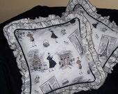 Paris Fashion Tours Tres Chic Decorator Pillow Cover Fabulous in Black, White and Ruffles Ruffles!