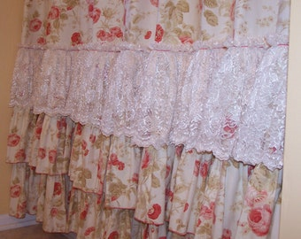 Shabby Chic Pink Roses and Chantilly Lace Ruffles Shower Curtain