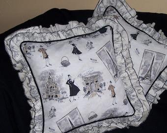 Paris Fashion Tours Tres Chic Pillow in Black, White and Ruffles Fabulous Ruffles