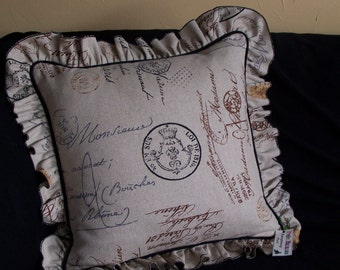 Linen Burlap Pillow Stamped with French Postale Script and a FABULOUS Ruffle