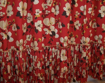 Japanese Cherry Blossom Lacquer Shower Curtain in LUSCIOUS Red and Ruffles