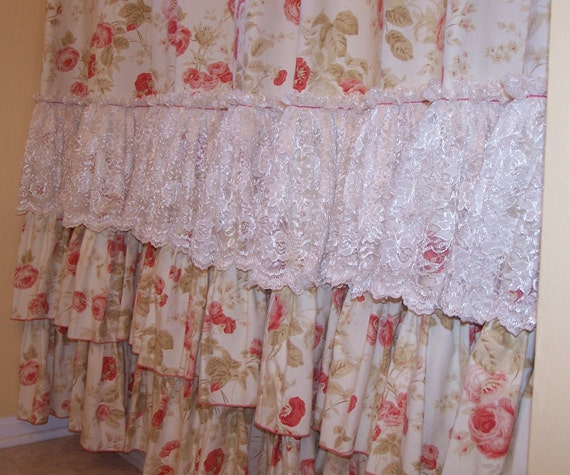 Shabby Chic Pink Roses And Chantilly Lace By Peeledbananastogo